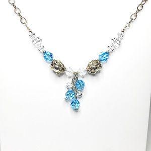 Blue Swarovski Crystal Sterling Silver Necklace
